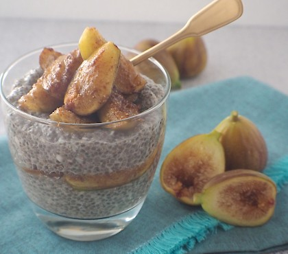 Vanilla and Coconut Chia Pudding with Caramelized Fig