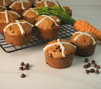 Choc Chip Hot Cross Muffins