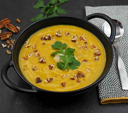 Spiced Sweet Potato Soup with Pecans